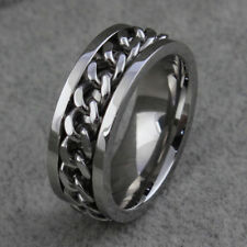 Fashion Mens Wedding Silver /Gold /Black Curb Stainless Steel Ring Band 8mm