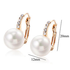 lucky crystal White gold filled Round Pearl hoop earrings statement earings lot