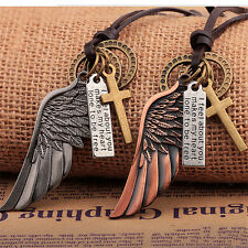 Angel Wing Stainless Steel Cross Rings Charm Leather Pendant Necklace