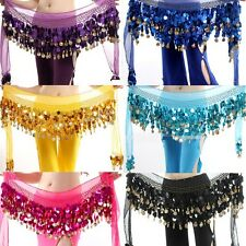58 Coin Women Belly Dance Costume Hip Scarf Wrap Sequins Chiffon Skirt Belt New