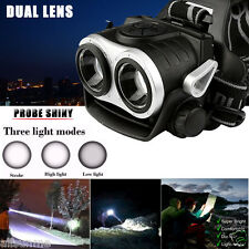 10000Lm Cree 2x T6 LED Dual Lens USB Rechargeable Headlamp Headlight Head Torch