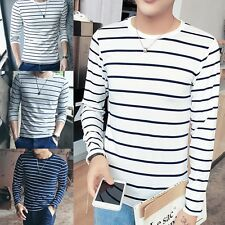 Men Long Sleeve Casual T-Shirt Slim Fit Cotton Round Neck Tops Basic Tee Comfy