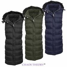 Brave Soul Womens Ladies Quilted Puffer Padded Gilet Coat Fur Hooded Jacket
