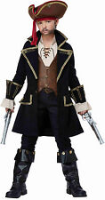 Boys Frock Coat Captain Jack Caribbean Medieval Black Pearl Child Pirate Costume