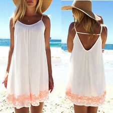 Womens Loose Chiffon Sleeveless Sundress Short Mini Dress skirt Summer beach