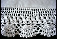 "HAND CROCHET LACE 5.1"" PILLOWCASES 100% COTTON SATEEN WHITE NEW PAIR QUEEN  H6"
