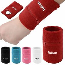 Unisex Cotton Wrist Sweatband Sports Yoga Gym Sweat Wristband with Zipper Pocket