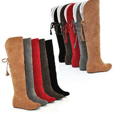 Fashion Womens Knee high Boots warm Lined Winter snow Boots lace up plus size