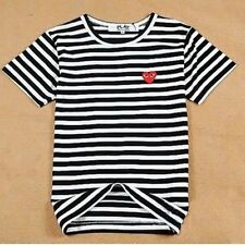 4 Sizes BLACK 2016 COMME DES GARCONS CDG PLAY STRIPED SHORT SLEEVE BLACK T-SHIRT