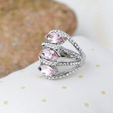 18K White Gold Plated Pink Crystal Ring Fashion Jewelry CZ Rhinestone Gift New