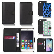 black pu leather wallet case cover for many mobiles design ref q675