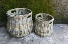 Large Wicker Cane Antique Grey Belly Basket with Rolled Edge Coastal French