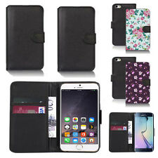 black pu leather wallet case cover for many mobiles design ref q689