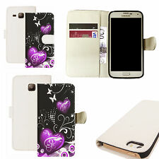 pu leather wallet case for majority Mobile phones - purple twin heart white