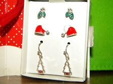 Avon Set of Three Christmas  Holiday Earrings in a Gift Box Red
