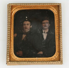 BEAUTIFUL TINTED DAGUERREOTYPE OF TWO AFFECTIONATE YOUNG MEN IN SUITS