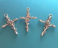5 - 25 Tibetan Antique Silver Rose Flower Cross. Beautiful. 30x21mm