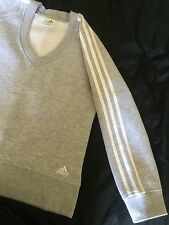 Adidas Ladies Jumper - V Neck - Grey With White Stripes - Size 10