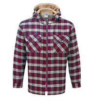 Mens Jacket Lumberjack Hooded Zip-Up fleece linned in Red Check Patten