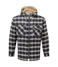 Mens Jacket Lumberjack Hooded Zip-Up fleece linned in Blue Check Patten