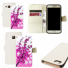 pu leather wallet case for majority Mobile phones - pink floral bee white
