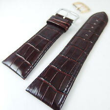 HQ 28MM(XL) taper to 22mm BROWN ITALY GLOSSY CROC GRAIN WATCH BAND LEATHER STRAP