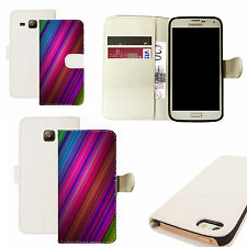 pu leather wallet case for majority Mobile phones - colourful gradient white