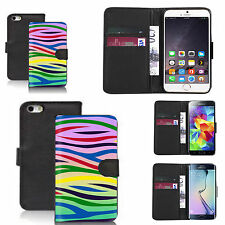 pu leather wallet case for many Mobile phones - rainbow zebra