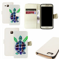 pu leather wallet case for majority Mobile phones - blue turtle white