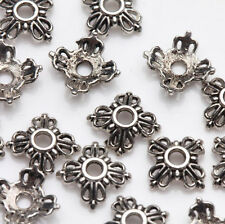 100/200 Pcs Hollow Out Flower Tibetan Silver Beads Caps 6x2mm