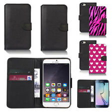 black pu leather wallet case cover for many mobiles design ref q455