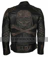 Men Skull Brown Distressed Leather Smart Motorcycle Leather Jacket For Bikers
