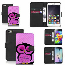 pu leather wallet case for many Mobile phones - sleepy pink owl