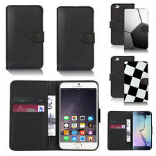black pu leather wallet case cover for many mobiles design ref q767