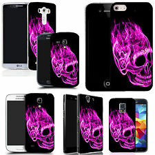 motif case cover for various Popular Mobile phones - inferno skull pink