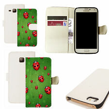 pu leather wallet case for majority Mobile phones - red ladybird white