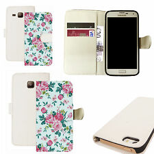 pu leather wallet case for majority Mobile phones - delightful floral white