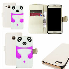 pu leather wallet case for majority Mobile phones -  purple panda white