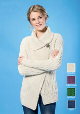 Asymmetrical Single Button Collar Cable Knit Aran Sweater Cardigan Wool S M L XL