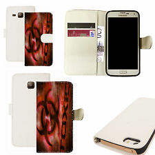pu leather wallet case for majority Mobile phones - red toxic white