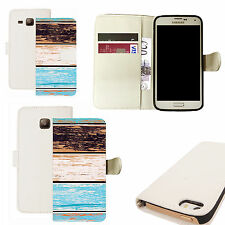 pu leather wallet case for majority Mobile phones - woody pattern white