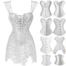 Fashion Womens Sexy Burlesque White Lace up Overbust Top Corset Bustier Costumes