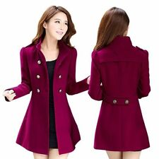 Winter Ladies Women Long Sleeve Double-Breasted Slim Trench Coat Jacket Outwear