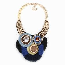 chain big pendant crystal tassel handmade flower statement necklace for women