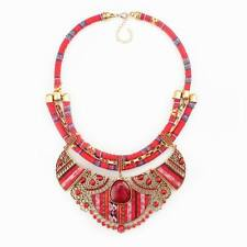 vintage ethnic tibetan colorful rope chain pendant statement necklace for women