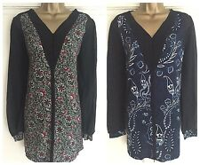NEW EX NEXT LADIES BLUE / RED ABSTRACT FLORAL PRINT TUNIC TOP SIZE 10 - 22