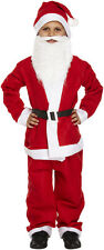 CHILD KID SANTA SUIT WITH BEARD FATHER CHRISTMAS FANCY DRESS BOYS COSTUME MEDIUM