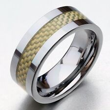 8mm Men's Solid Tungsten Carbide Wedding Band Ring with Carbon Fiber Jewelry