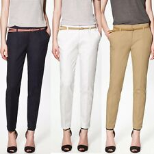 Women's Skinny Long Trousers OL Casual Thin Belt Fashion Slim Comfy Pencil Pants