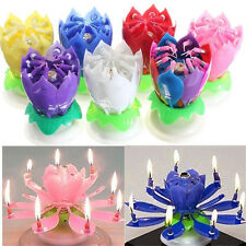 Musical Lotus Flower Rotating Happy Birthday Party Gift Candle Light Cake Decor